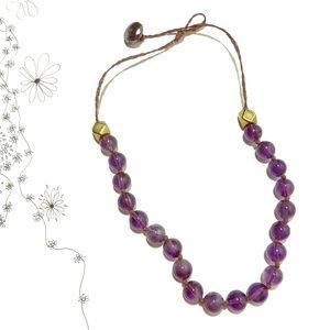 Purple Glass Stone Necklace w Brass Detail